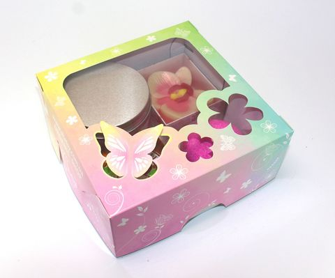 A gift box with a butterfly